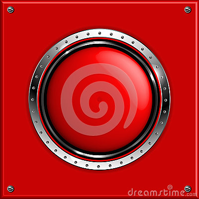Red abstract metallic background with round glossy