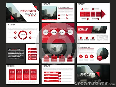Red abstract presentation templates, Infographic elements template flat design set for annual report brochure flyer leaflet market Vector Illustration