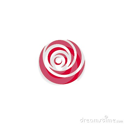 Free Red Abstract Rose, Vector Logo Template On White Background. Stylish Flower Illustration, Circular Shape, Arc Design Stock Photos - 115574413