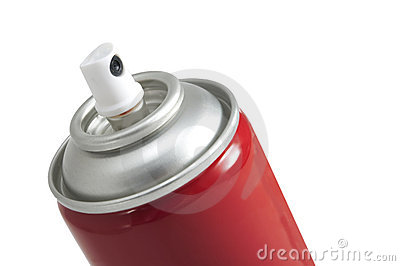 Red aerosol paint can