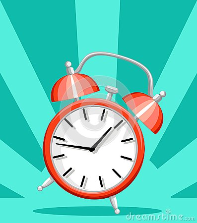 Free Red Alarm Clock Wake-up Time Flat Style Vector Illustration Isolated On Turquoise Background Website Page And Mobile App Design Royalty Free Stock Photography - 106292617