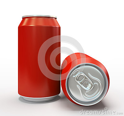Free Red Alluminium Cans On White Background Stock Images - 33360914