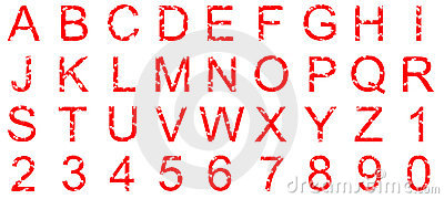 Red Alphanumeric set with grunge splatters