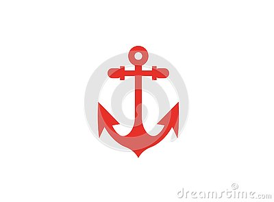 Red anchor for boat and yacht logo Cartoon Illustration