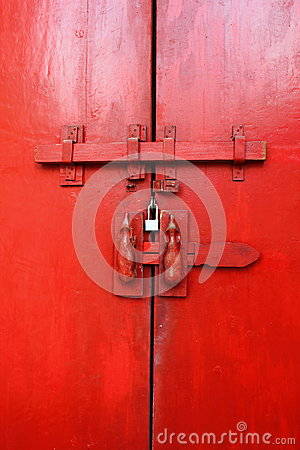 Free Red Ancient Door In The Temple Stock Photos - 26628373