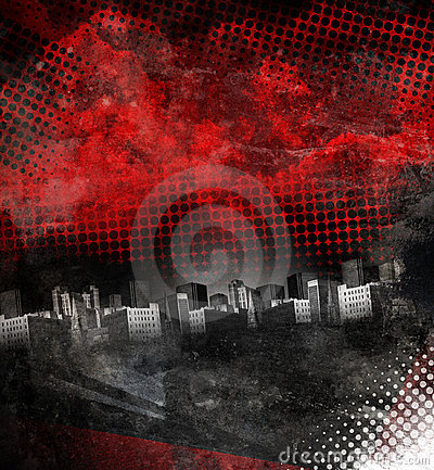 Free Red And Black City Grunge Background Stock Images - 19950504