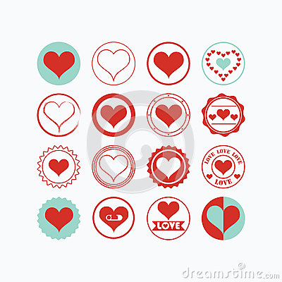 Free Red And Blue Heart Symbols Icons Set On White Background Royalty Free Stock Images - 65326579