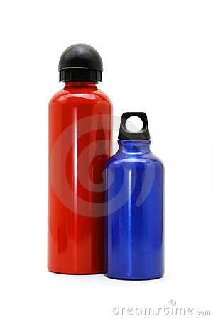 Free Red And Blue Metallic Bottles On White Royalty Free Stock Image - 3776486