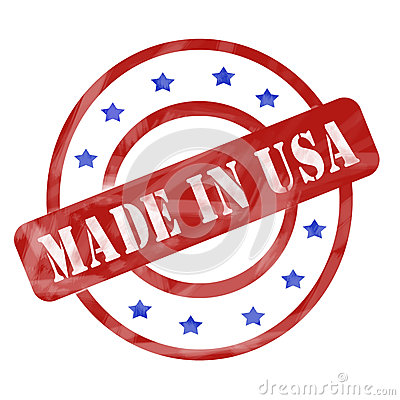 Free Red And Blue Weathered Made In USA Stamp Circles And Stars Royalty Free Stock Image - 36452896