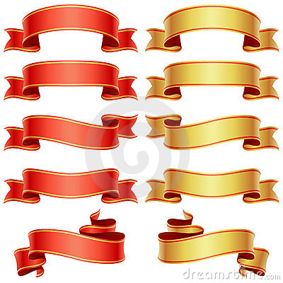 Free Red And Golden Banners Royalty Free Stock Photos - 15131488