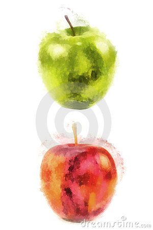 Free Red And Green Apple, Watercolor Painting Stock Images - 15548494