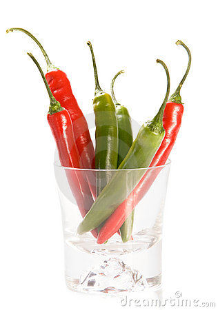 Free Red And Green  Chilly Peppers In Glass Stock Photos - 9546113