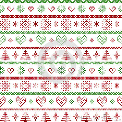 Free Red And Green On The White Background Nordic Christmas Pattern With Snowflakes And Forest Xmas Trees Decorative Ornaments In Scand Royalty Free Stock Images - 59121609
