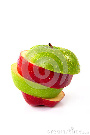 Free Red And Green Sliced Apple Stock Photos - 44838953
