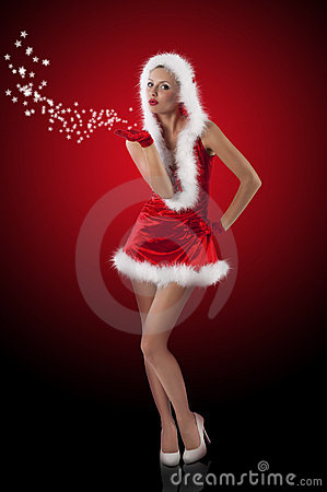 Free Red And Santa Claus Girl Blowing Gifts Royalty Free Stock Images - 21844149