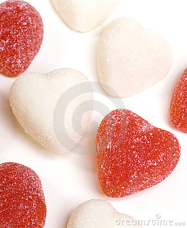 Free Red And White Candy Hearts Stock Image - 5085391
