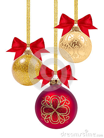 Free Red And Yellow Christmas Balls With Ribbon And Bow Royalty Free Stock Photos - 34617258
