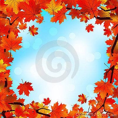 Free Red And Yellow Leaves Against Blue Sky. EPS 8 Royalty Free Stock Photos - 20707428