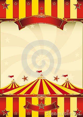 Free Red And Yellow Top Circus Poster Royalty Free Stock Images - 24990899