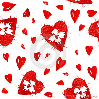 Red angels of love with heart seamless pattern