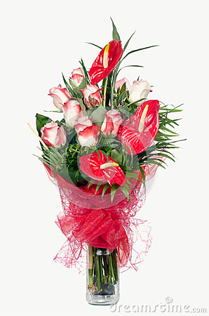 Free Red Anthurium And  Pink Roses Stock Photography - 25487552