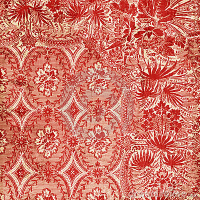 Free Red Antique Floral Damask Background Royalty Free Stock Images - 12365729