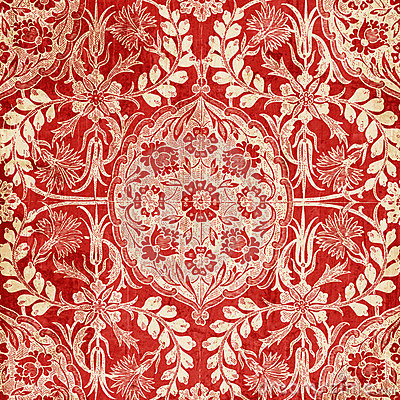 Free Red Antique Floral Damask Background Royalty Free Stock Images - 12365759