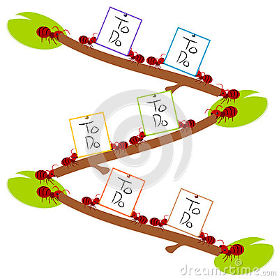 Red ants hard to do list teamwork illustration