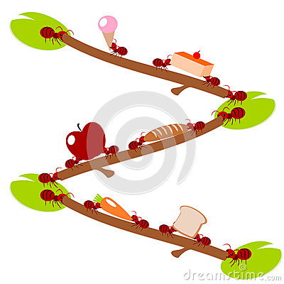 Red ants  pick food teamwork illustration
