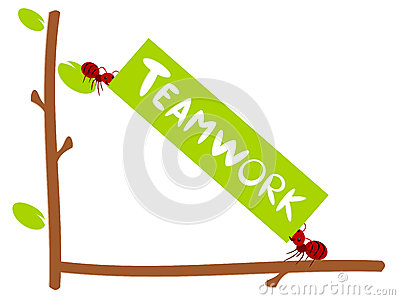 Red ants text teamwork illustration