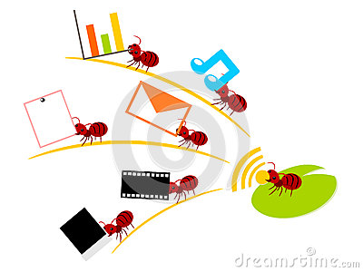 Red ants wireless lan teamwork illustration