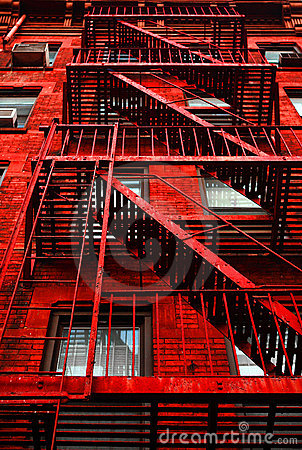 Red Apartment Building