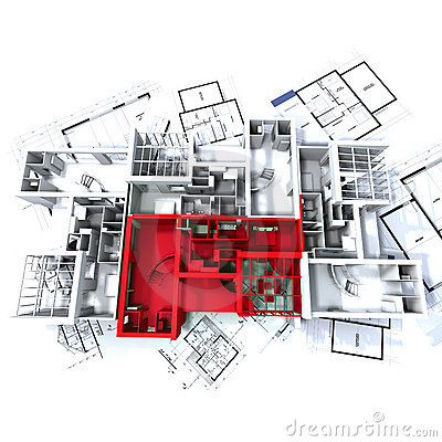 Free Red Apartment Mockup On Plans Royalty Free Stock Photos - 3231628