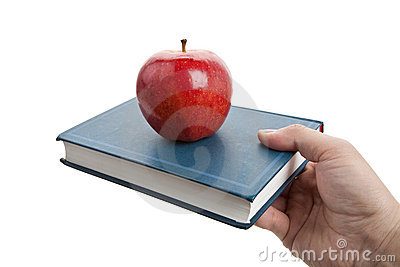 Red apple and book