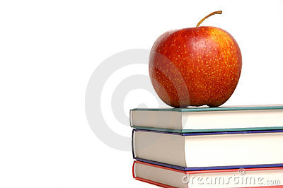Red apple with books