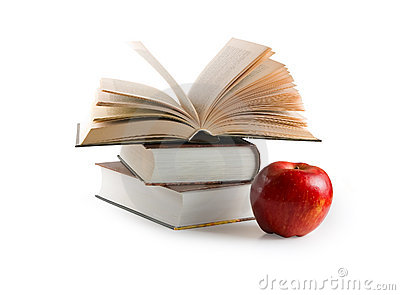 Red apple and books (with clipping path)