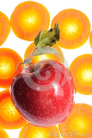 Red Apple on Carrot Background