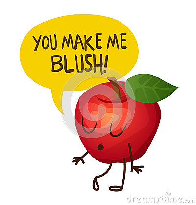 Free Red Apple Character Says You Make Me Blush. Cartoon  Illustration Royalty Free Stock Images - 82233989