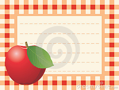 Red apple on chequered background