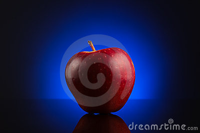 Red apple on dark blue background