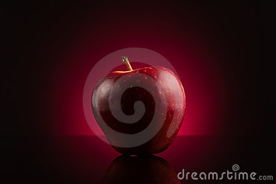Red apple on dark red background