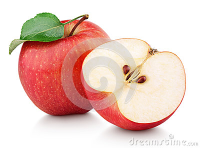 Red apple fruit with half and green leaf isolated on white Stock Photo