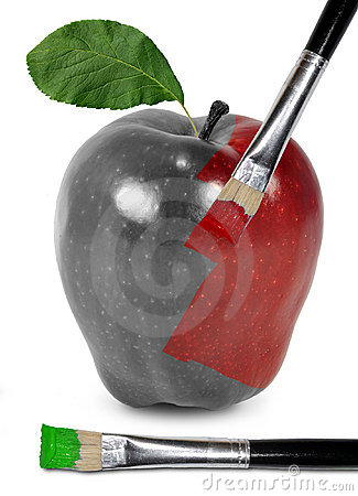 A red apple gets his color with a brush