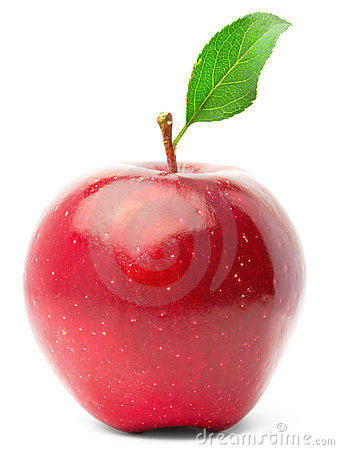 Red apple with green leaf.
