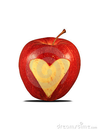 Red apple with a heart shape
