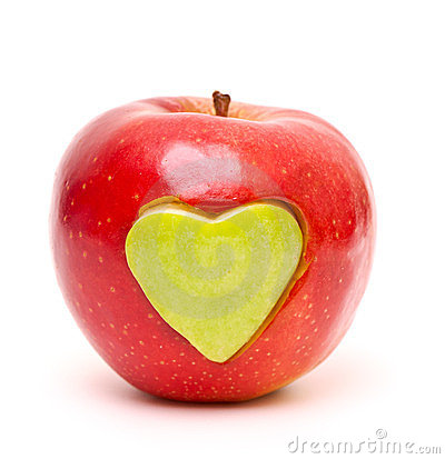 Red apple and  heart shape cut and inserted