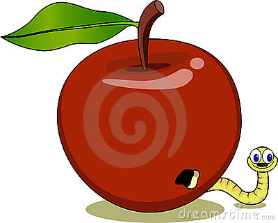 Red Apple And Maggot Cartoon Stock Photo - Image: 17774740