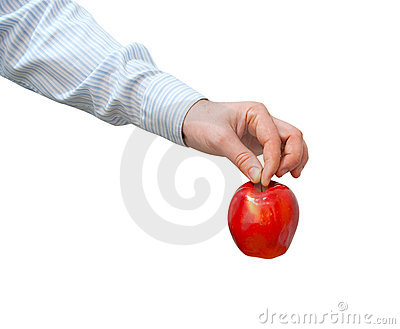 Red apple in a man s hand
