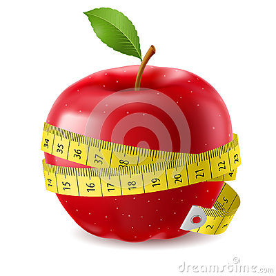 Red apple and measure tape