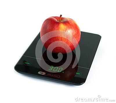 Free Red Apple On Kitchen Scales Isolated On White Closeup Stock Images - 67740384